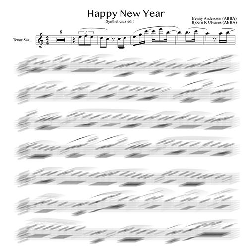 Abba - Happy New Year (Sheet music and backing track for alto saxophone,  tenor saxophone and violin)
